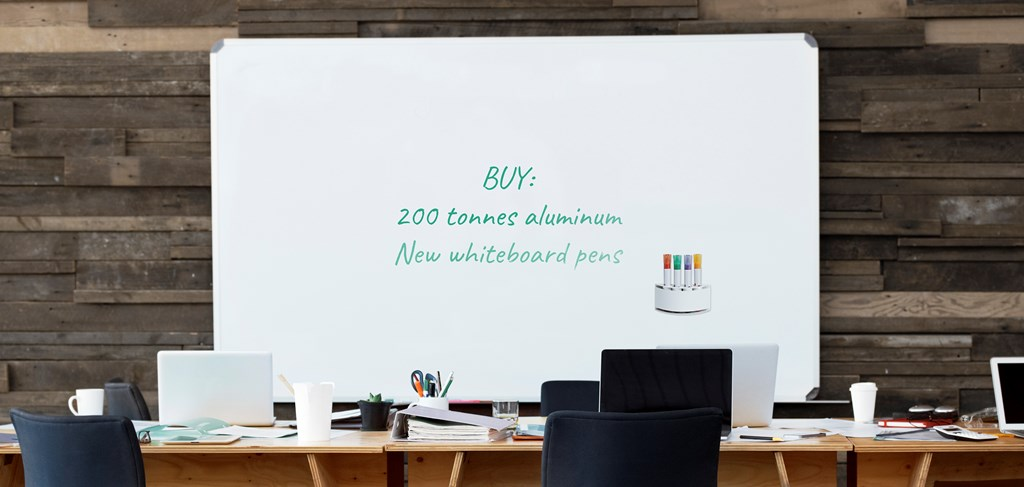 Whiteboard with text behind a desk